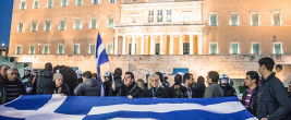 Greek protest with flag